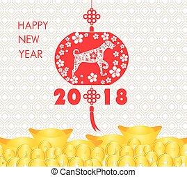 -, cartão, ano novo, chinês, feliz, 2018, dog.
