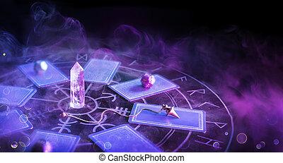 -, cartes, cartomancy, autel, fumée, defocused-tarot, pendule, brouillé