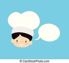 -, cartone animato, carino, chef, bolla discorso