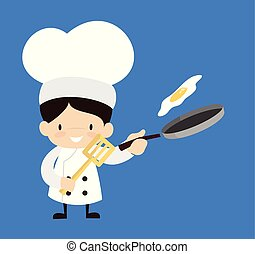 -, cartone animato, carino, cibo, chef, preparare
