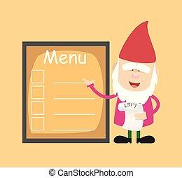 -, cartone animato, menu, carino, presentare, chef, elenco