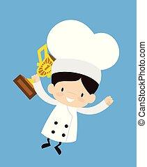 -, cartone animato, saltare, carino, trofeo, chef
