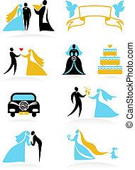 -, casório, 2, ícones