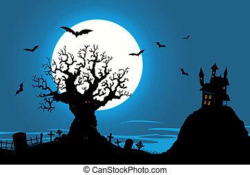 -, casa, cartaz, assombrado, mal, árvore, dia das bruxas