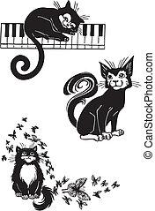 -, cats., stilisiert, katzen, eleganz, anmutig
