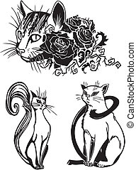 -, cats., stylized, gatos, elegância, gracioso
