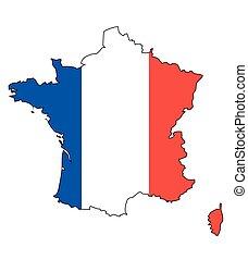 -, celostátní mapovat, nárys, francie, state flag