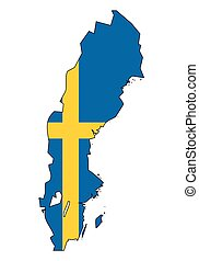 -, celostátní mapovat, nárys, state flag, švédsko