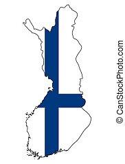 -, celostátní mapovat, nárys, state flag, finsko
