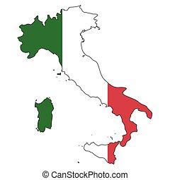 -, celostátní mapovat, nárys, state flag, itálie