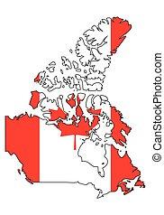 -, celostátní mapovat, nárys, state flag, kanada