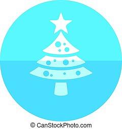 -, cercle, arbre, noël, icône