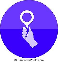-, cercle, icône, bidder, main