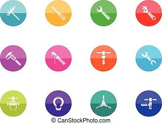 -, cercle, vélo, outils, icônes