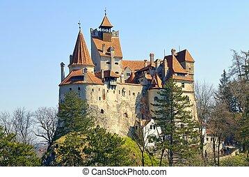 -, château, dracula`s, son de blé