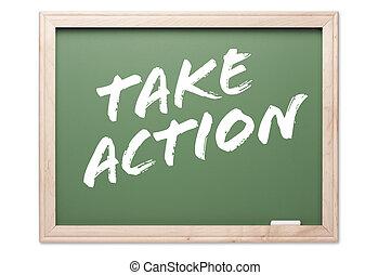 -, chalkboard, ação, tomar