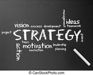 -, chalkboard, stratégia