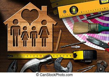 -, chambre maison, amélioration, travail, concept, outils