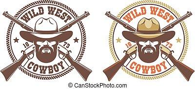 -, chapeau, ouest sauvage, retro, fusils, cow-boy, traversé, winchesters, logo