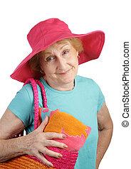 -, chapeau, rose, été, personne agee