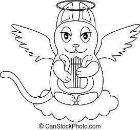 -, character., リラ, キティ, outline., 座る, coloring., ハープ, ベクトル, ねこ, 翼, 雲, 線である, 映像, 天使, かわいい, プレーする, ハロー