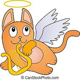 -, character., flight., 金, リラ, 遊び, ベクトル, 白人のキャット, harp., 面白い, 乱雲, 翼, 漫画, 赤, かわいい, キューピッド, 天使