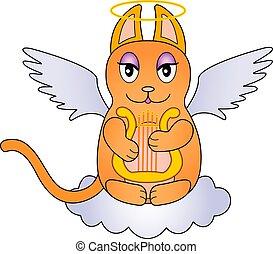 -, character., red-haired, リラ, キティ, 座る, 美しい, ねこ, ベクトル, 翼, 雲, cloud., harp., 天使, かわいい, プレーする, ハロー