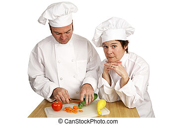 -, chef cuistot, école, poupe, instructeur