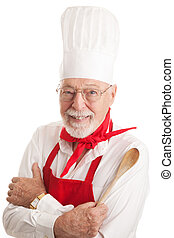 -, chef cuistot, beau, fond, blanc