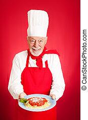 -, chef cuistot, spaghetti, marinara, italien