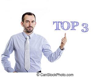 -, chemise, homme affaires, petit, 3, bleu, pointage, barbe, surmontez, jeune
