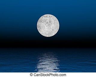 -, chiaro di luna, render, 3d
