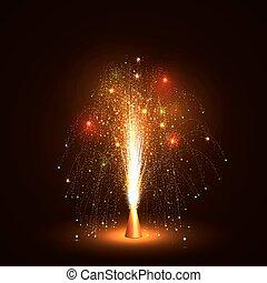-, chispas, emitir, poco, volcán, colorido, fuego artificial, fuente
