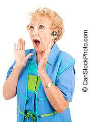 -, chockerande, mobiltelefon, nyheterna, senior woman