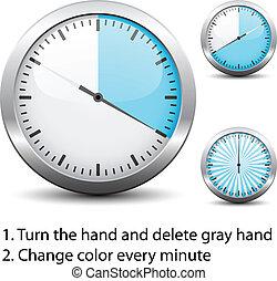 -, chronometrażysta, jeden, wektor, każdy, zmiana, ...