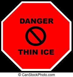-, cienki, lód, niebezpieczeństwo