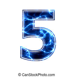 -, cifra, 5, elettrico, 3d