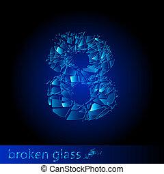 -, cifra, otto, vetro rotto