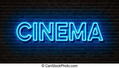 -, cinéma, signe, mur, brique, néon