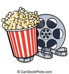 -, cine, objetos, estilo, cubo, carrete de película, retro, palomitas