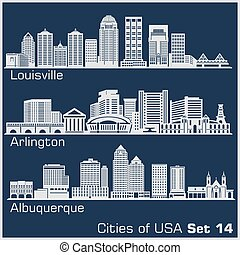 -, ciudades, arlington, architecture., vector, estados...