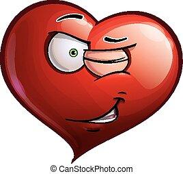 -, cligner, coeur, faces