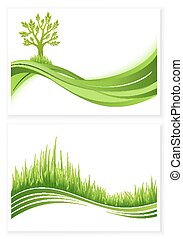 Green_tree_and_grass_growth_vector_eco_concept.eps - Set of...