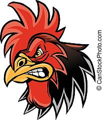Angry_Cartoon_Rooster_Mascot_Head_Illustration.eps - Vector...