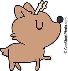 Ciervo De Dibujos De Kawaii Un Lindo Ciervo Marron De Kawaii Con