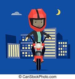 Nacht motorradfahrer, weiße silhouette von biker, isoliert