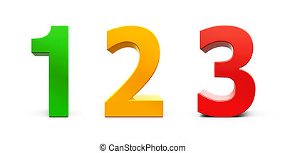 Números coloridos de madera 123. Jugo de madera colorido número ...