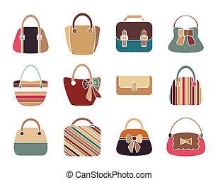 La colección de bolsas de mujeres retro sin fondo. Bolsas de