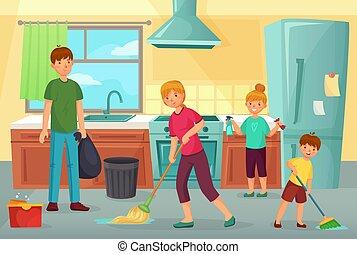 Madre Y Chica Limpiando La Cocina Juntos Ilustracion De Dibujos