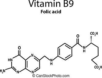 Vitamina B9 ácido Fólico Icono Fórmula Química